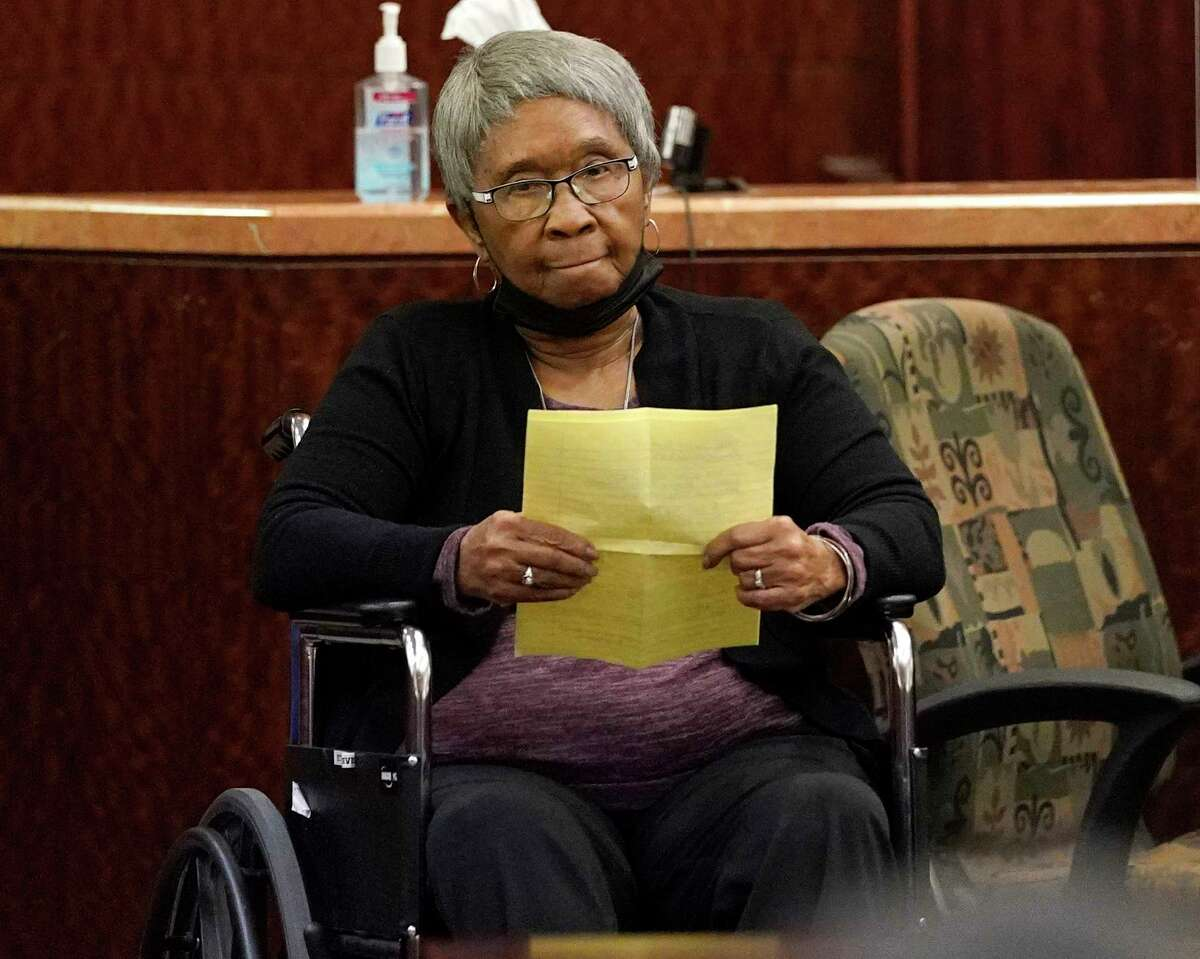 Shirley Jackson, mother of Dwayne Jackson, gives her victim impact statement at the Harris County Court Thursday, Oct. 7, 2021 in Houston after the trial of David Conley, who was sentenced to life in prison without the possibility of parole for killing Valerie Jackson and Dwayne Jackson. The couple were killed on Aug. 8, 2015 along with six children- Nathaniel, 13, Honesty, 11, Dwayne Jr., 10, Caleb, 9, Trinity, 7, and Jonah, 6.