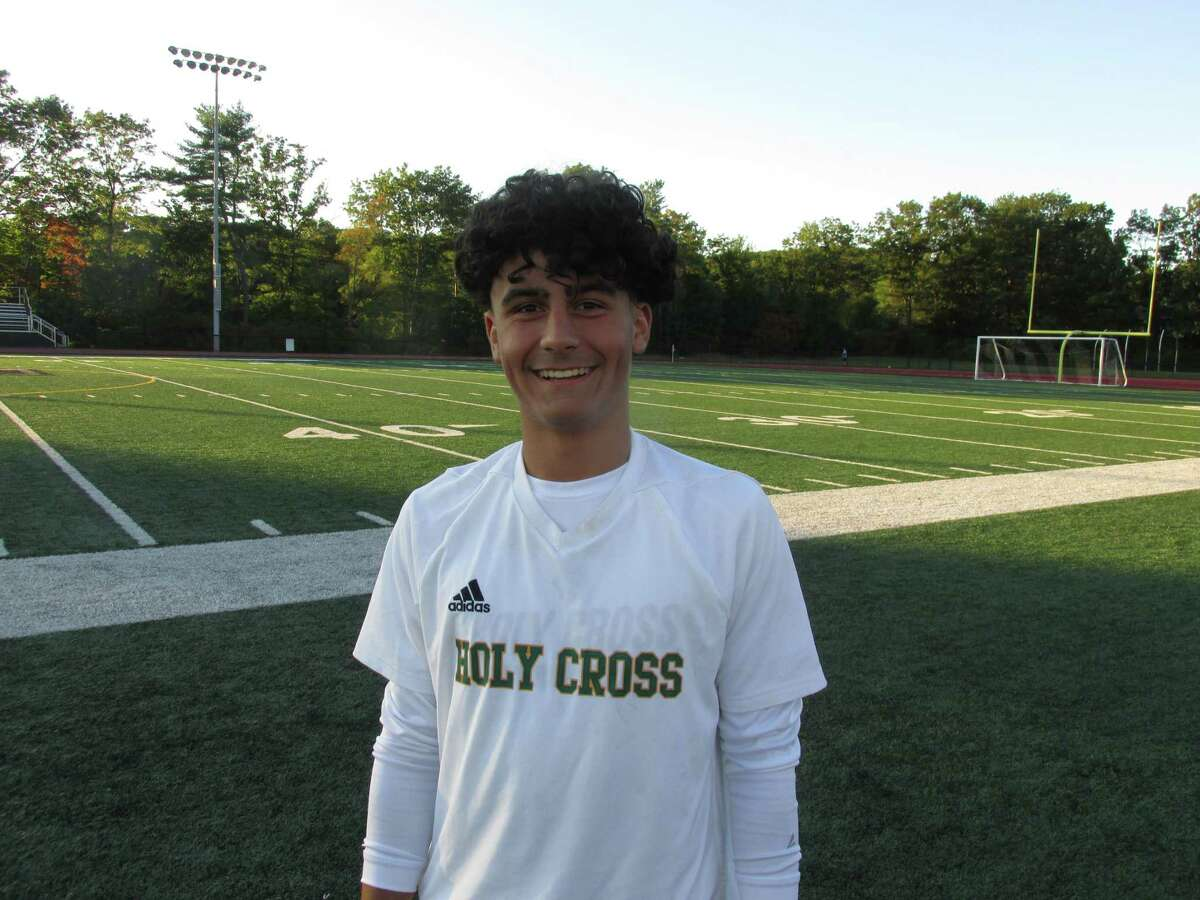 Holy Cross' Aiden Coelho had three goals in a win over Torrington at the Robert H. Frost Sports Complex Thursday afternoon.