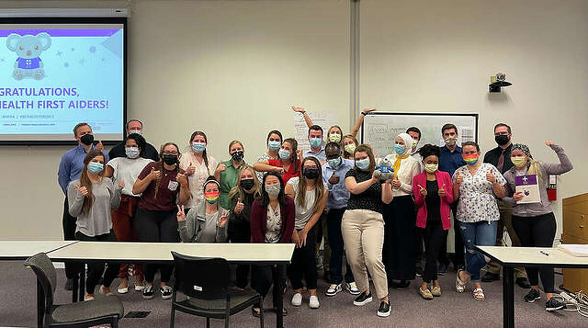 A cohort of SIUE School of Pharmacy affiliated pharmacy residents and faculty completed the Mental Health First Aid training course.