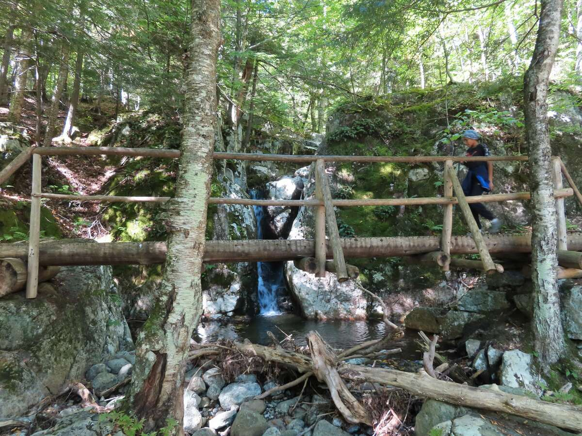 The trail to Lower Wolfjaw through Adirondack Mountain Reserve lands passes a cascade on Wedge Brook.