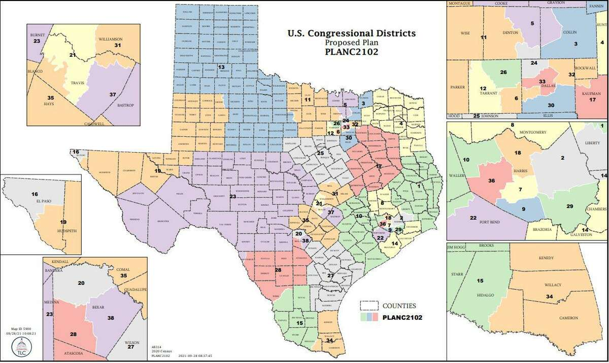 An proposal by Texas Redistricting that prioritizes compact congressional districts