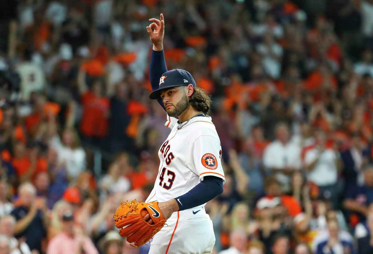 Houston Astros starting pitcher Lance McCullers Jr. (43) acknowledges the crowd as he walks back to the dugout after being pulled during the seventh inning in Game 1 of the AL Division Series Thursday, Oct. 7, 2021, in Houston.