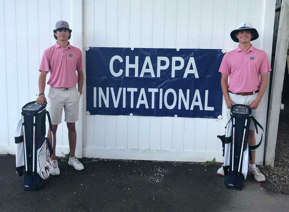 New Canaan's Marc DeGaetano, left, and Taylor Pinkernell shot an 8-under-par 61 to win the Chappa Invitational at Longshore Golf Course in Westport on Thursday.