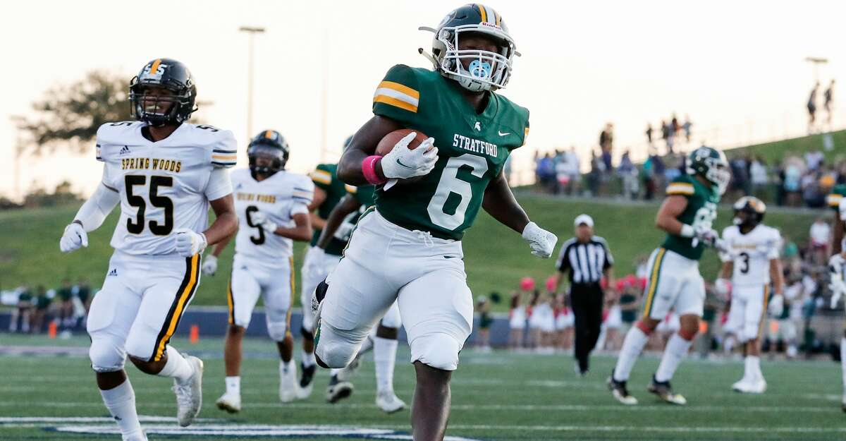 Stratford Spartans Dallas Payne (6) scores a touchdown during the first half of the high school football game between the Spring Woods Tigers and the Stratford Spartans at Tully Stadium in Houston, TX on Thursday, October 7, 2021. The Spartans lead the Tigers 49-0 at halftime.
