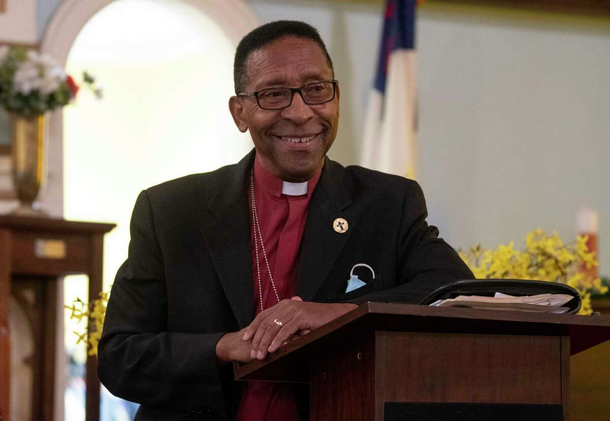 Bishop Dr. Norman Macklin of New Jerusalem Missionary Baptist Church, the chaplain to the Troy police and fire departments, is seen at New Jerusalem Missionary Baptist on Monday, Oct, 4, 2021 in Troy, N.Y.