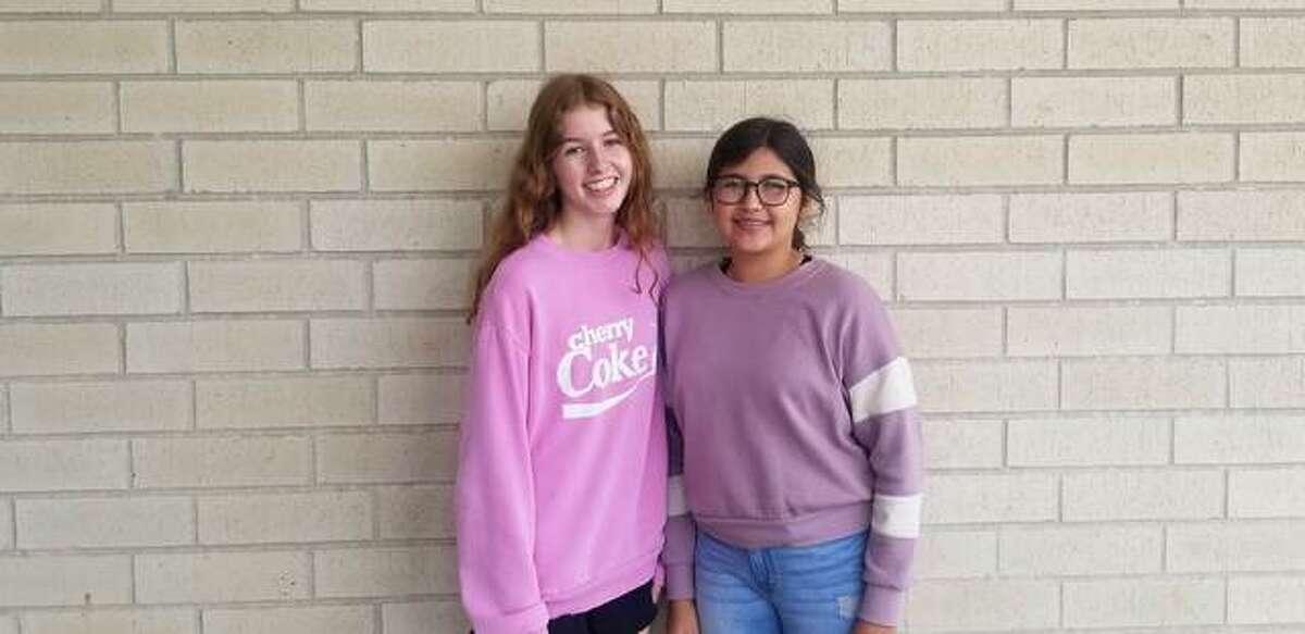 G.L.O. eighth-graders Aurora Wilhelm and Celia Parise.