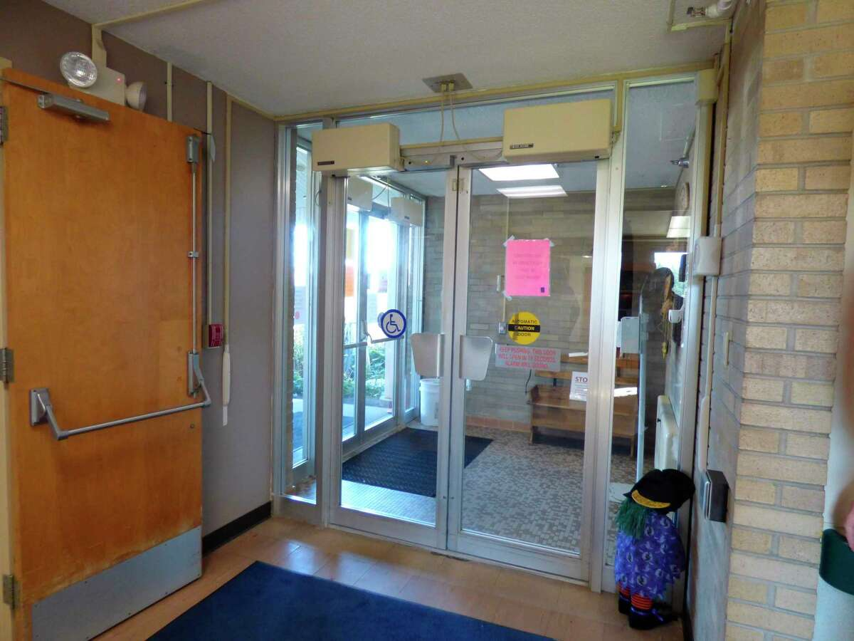 The primary entryway to the Manistee County Medical Care Facility was not designed for those in wheelchairs and on gurneys. Proposed updates will create a more accessible entrance at the facility. (Scott Fraley/News Advocate)