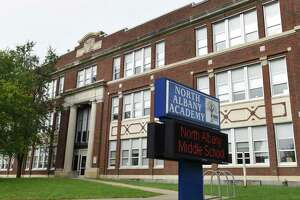 North Albany Middle School on Friday , Oct. 8, 2021, in Albany, N.Y. The school was closed Friday as police investigate a shooting threat.