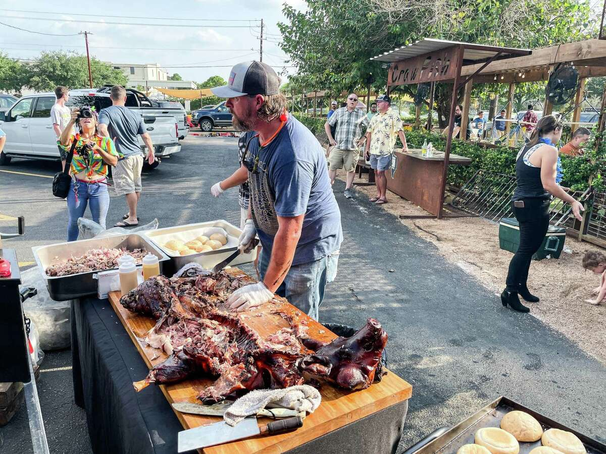 Chopping the hog at Nomad Barbecue/Piper's BBQ pop-up