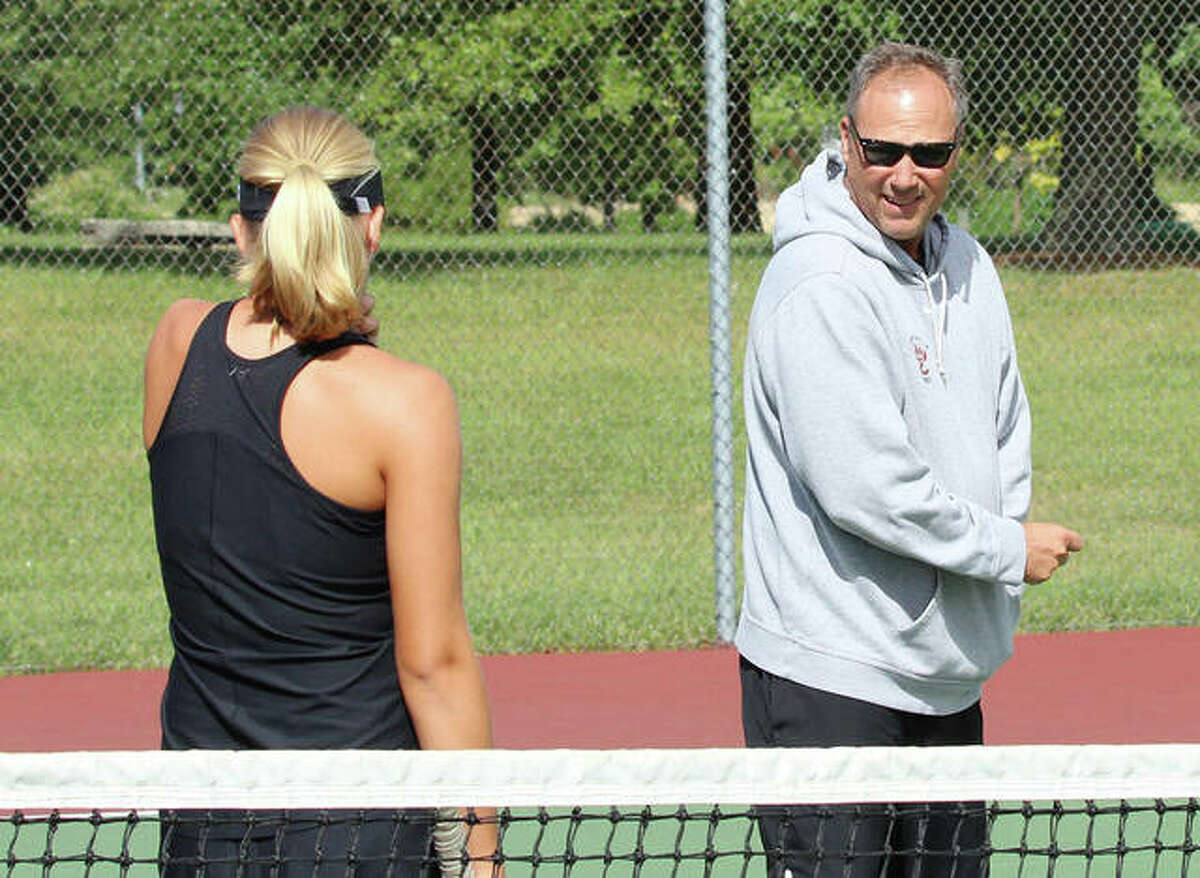 Edwardsville coach Dave Lipe, pictured right, and the Edwardsville Tennis Academy will be honored Saturday at the United States Tennis Association (USTA) St. Louis District Awards Banquet. Lipe will receive the Outstanding Diversity Achievement award and the Edwardsville Tennis Academy will receive the Outstanding Contributor to Youth Progression award. The ceremony is scheduled for 4:30 p.m. Saturday under the tent at the Dwight Davis Tennis Center in Forest Park in St. Louis.