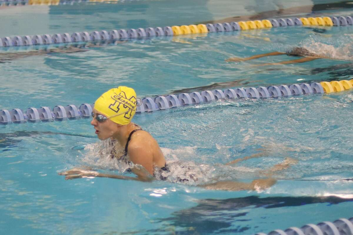 Manistee's swimmers compete in the 200-yard medley relay in their home meet on Oct. 7.