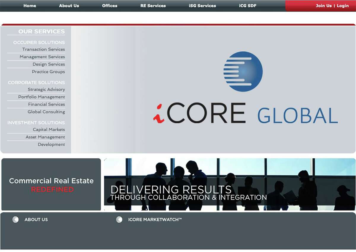 Three executives of San Antonio real estate firm iCore Global were indicted by a federal grand jury on charges they defrauded couples nearing retirement of more than $2 million. Pictured is the iCore website's homepage.