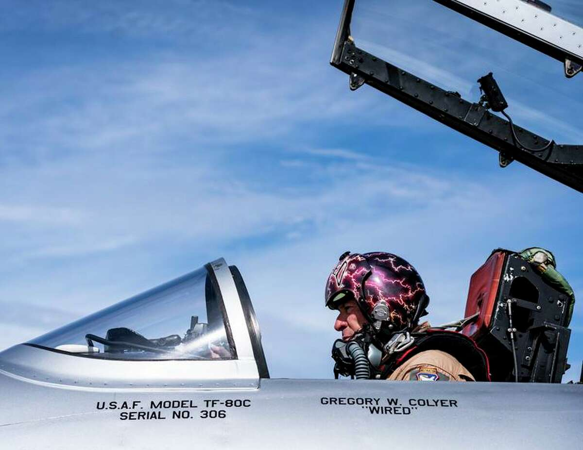 Colyer makes the final checks before taking off in his T-33 jet trainer, a Lockheed Shooting Star.