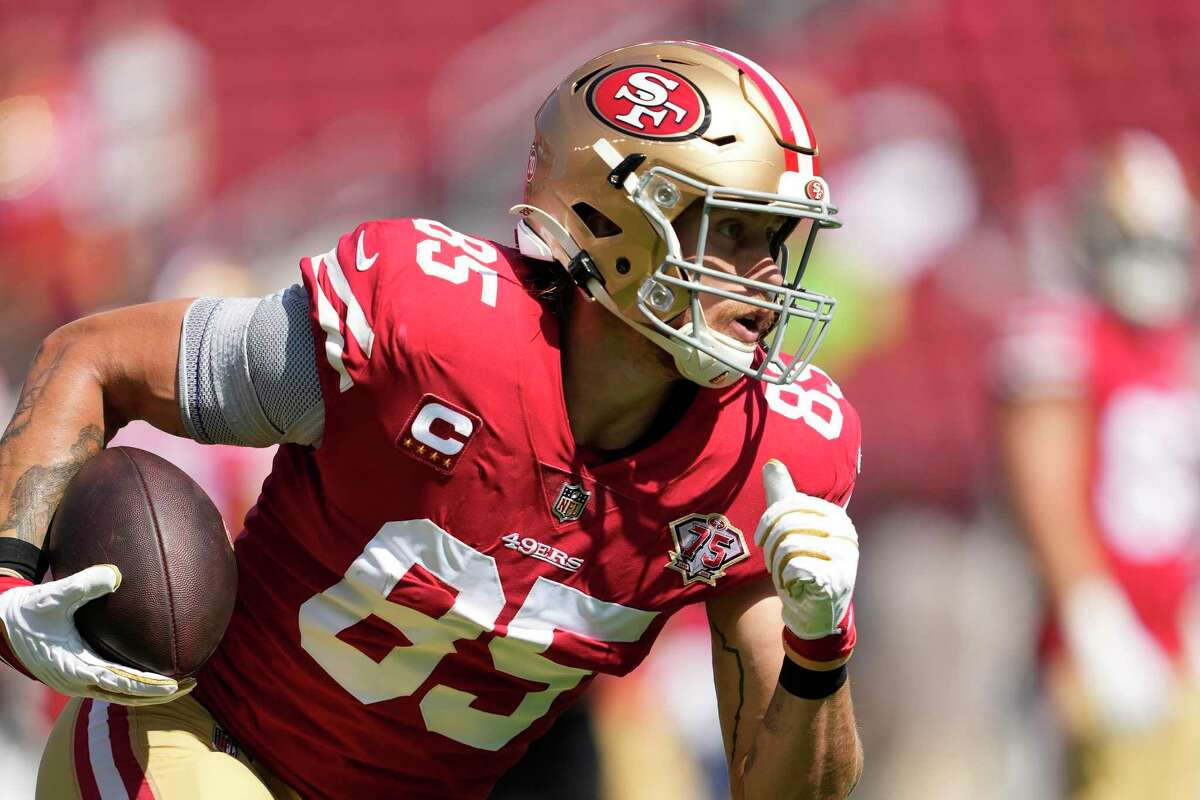 San Francisco 49ers tight end George Kittle before an NFL football game against the Seattle Seahawks in Santa Clara, Calif., Sunday, Oct. 3, 2021. (AP Photo/Tony Avelar)