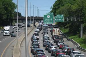 Traffic backs up on Interstate 95 in Norwalk on a recent day.