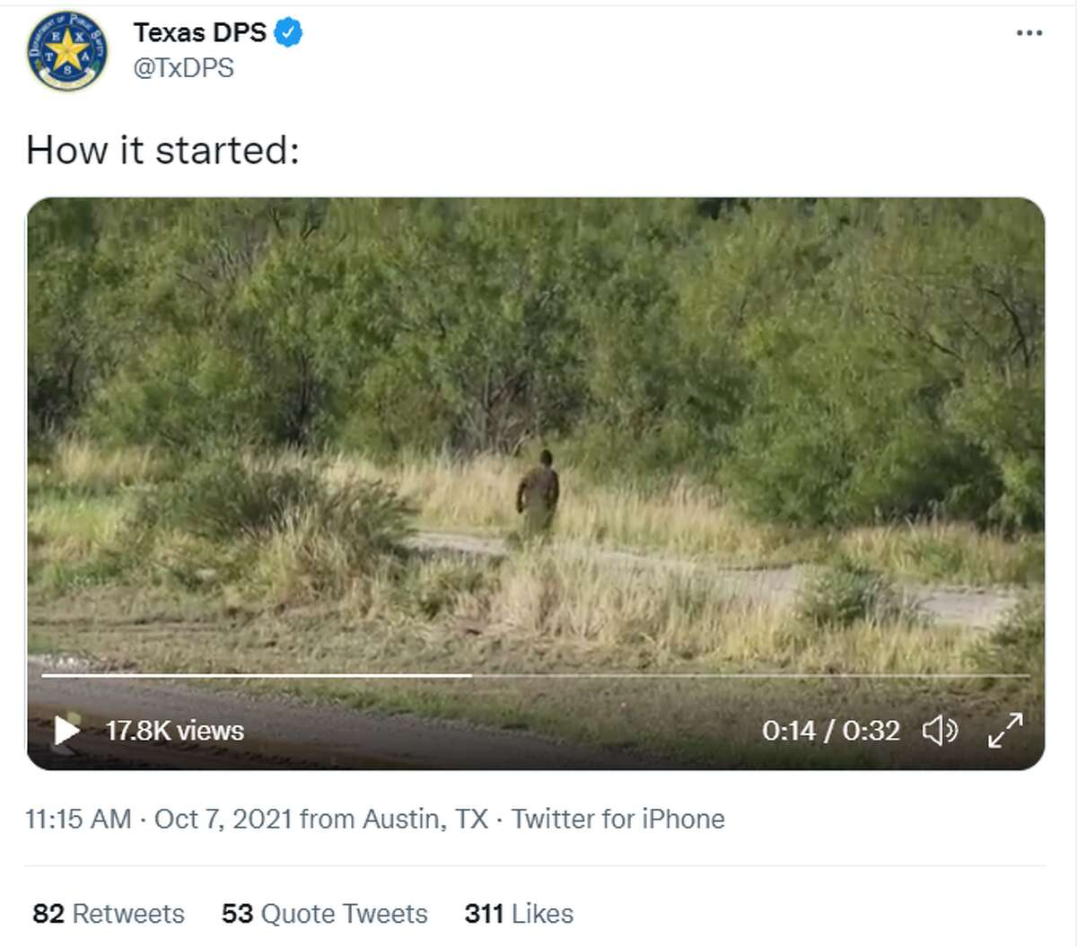 Texas Department of Public Safety posted a meme on Thursday displaying the supposed capture of a person running away from their state near Uvalde.