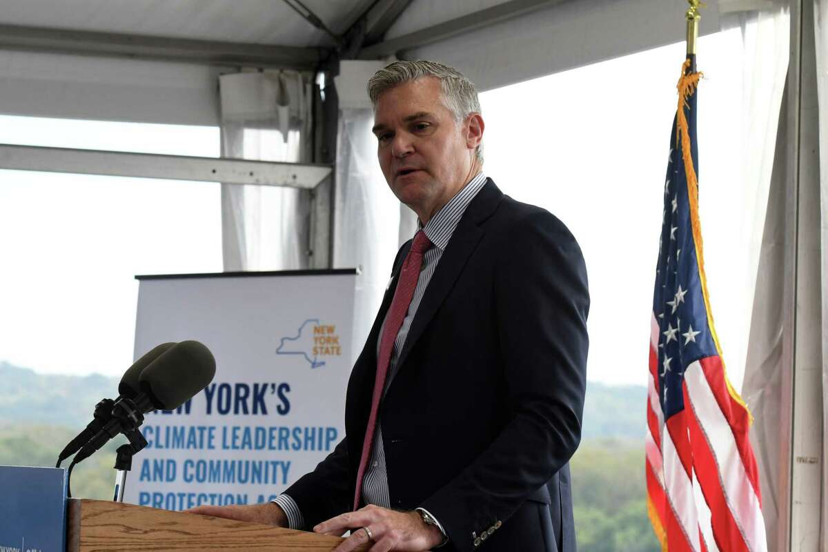 David Hardy, CEO of Ørsted, joins Lt. Gov. Brian Benjamin in announcing that the Port of Coeymans will play a role in construction of a planned offshore wind turbine farm in Long Island on Friday , Oct. 8, 2021, in Coeymans N.Y. The port will serve as a fabrication site for constructing turbine platforms.
