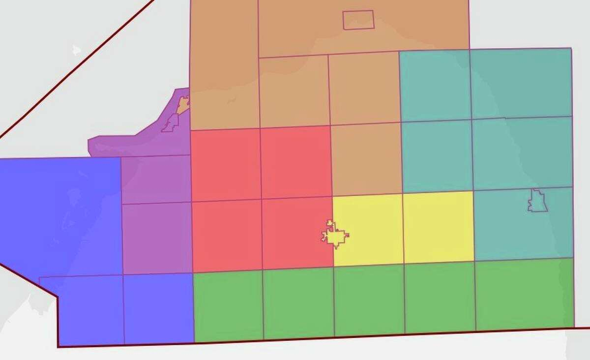 This is the new map for the Huron County Commissioners districts, which was approved this past Thursday. The only changes made were moving a northeast portion of Caseville Township to the neighboring district and having all of the City of Bad Axe in a district with Verona and Sigel townships. (Tribune File Photo)