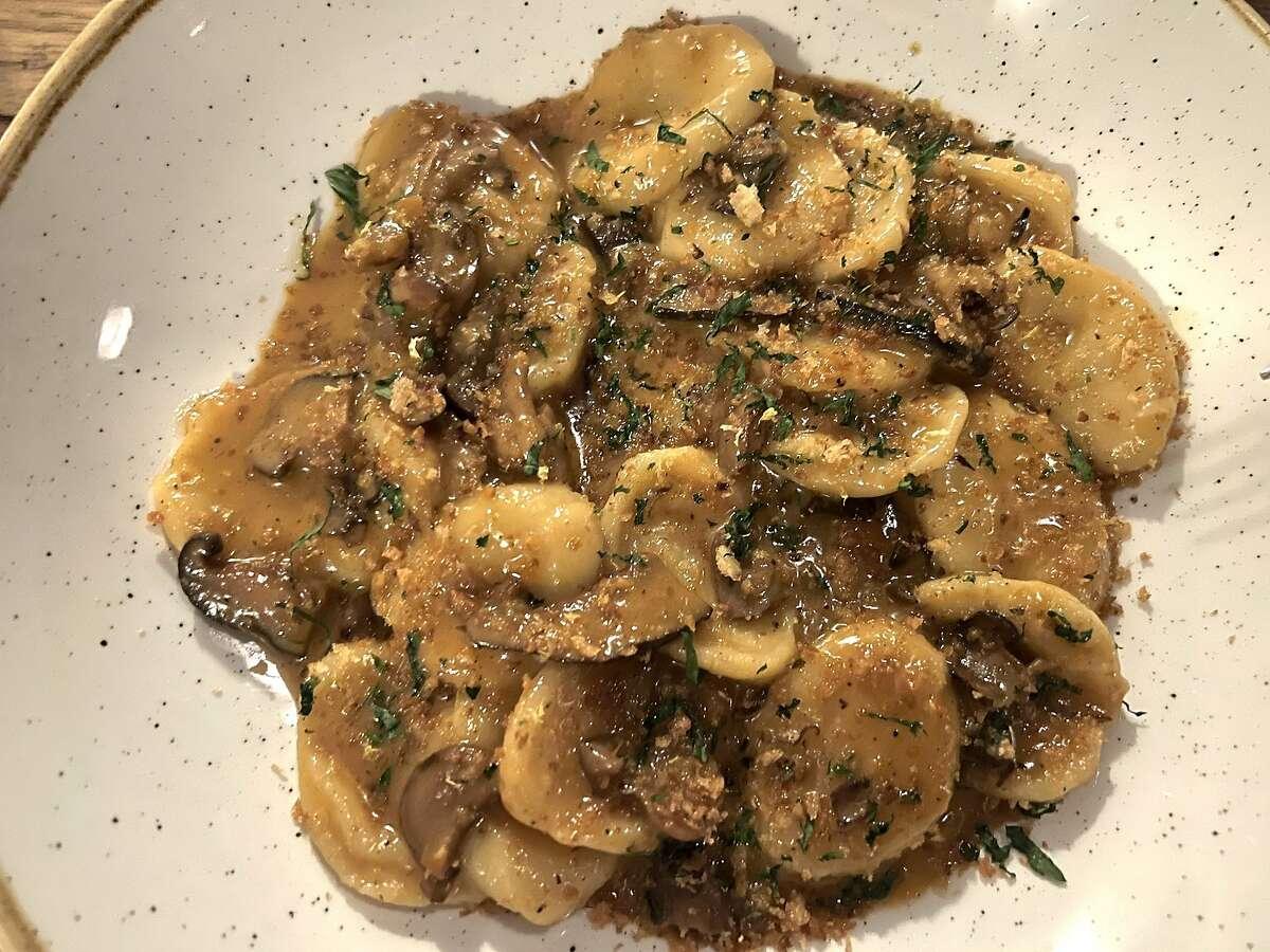 Cencioni pasta with mushroom ragu from Itria in San Francisco, Calif.
