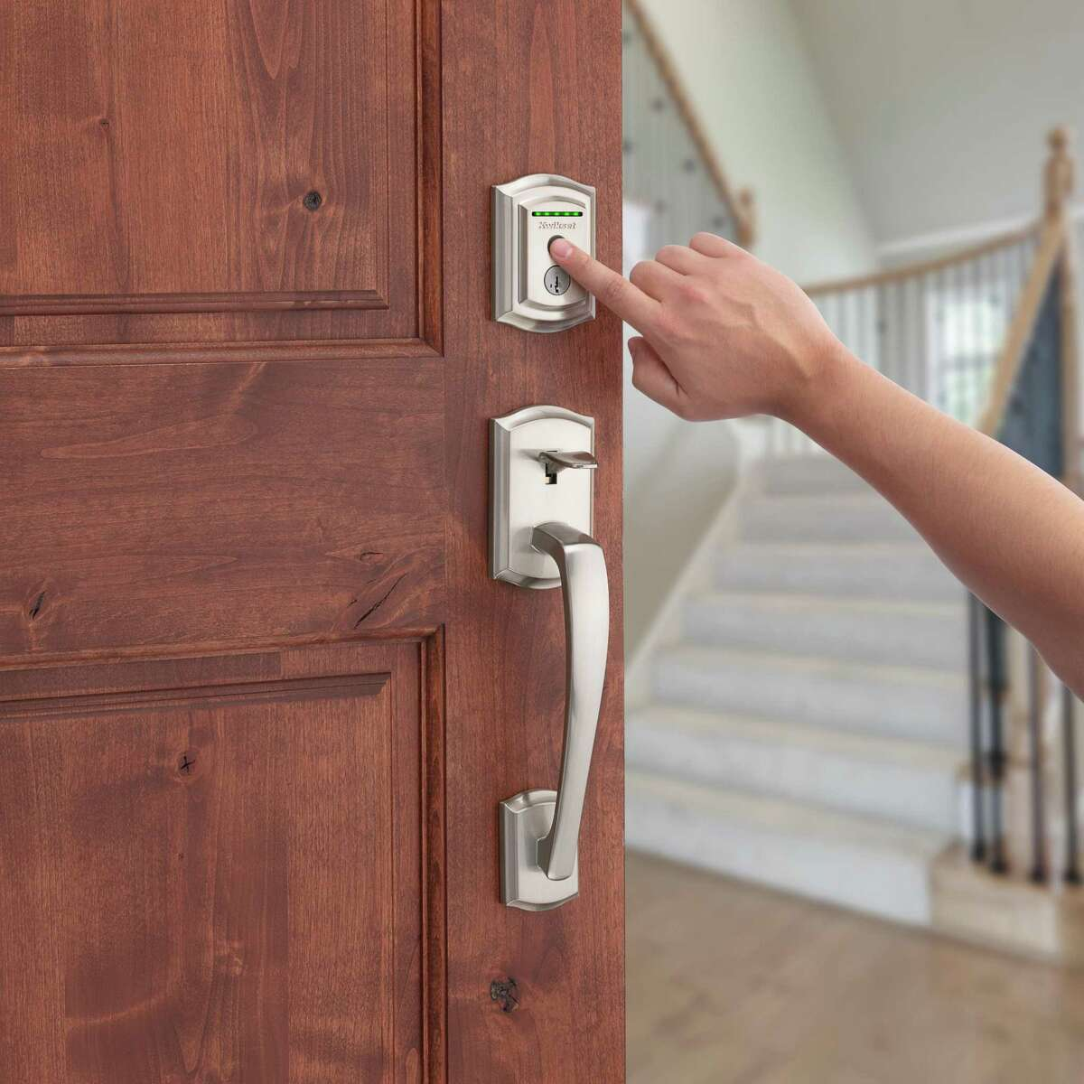 A smart lock, like the Kwikset Halo Touch, uses the homeowner's fingerprint to lock and unlock the door.