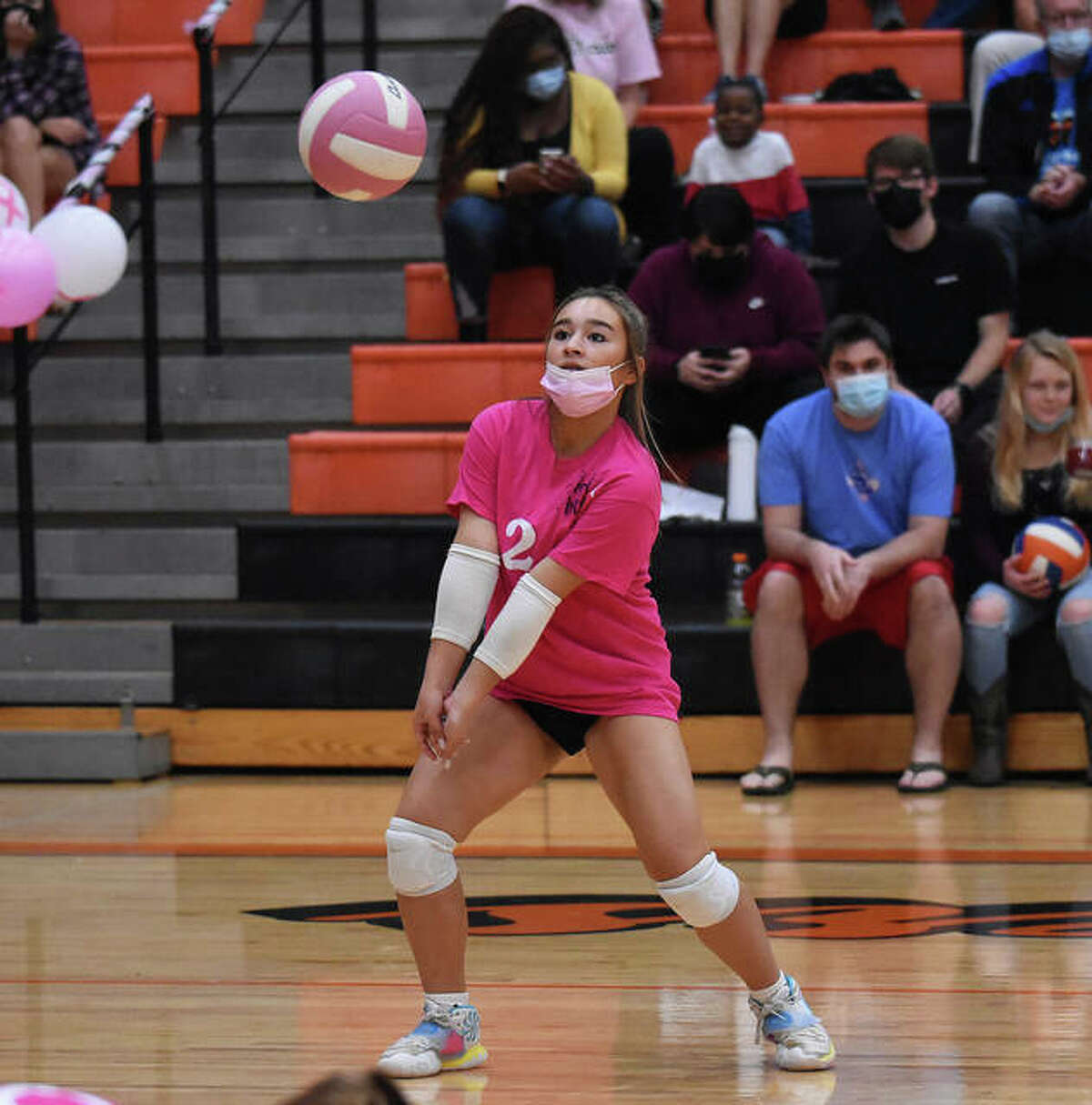 Edwardsville's Hanna Matarelli keeps a volley alive during the second game.