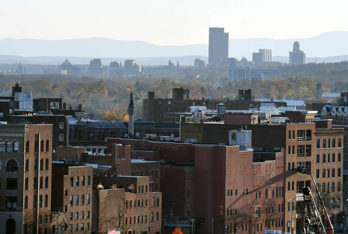 View of Downtown Troy and the Albany skyline seen from the rooftop at Hedley Park Place on Wednesday, Nov. 6, 2019, in Troy, N.Y. (Will Waldron/Times Union)