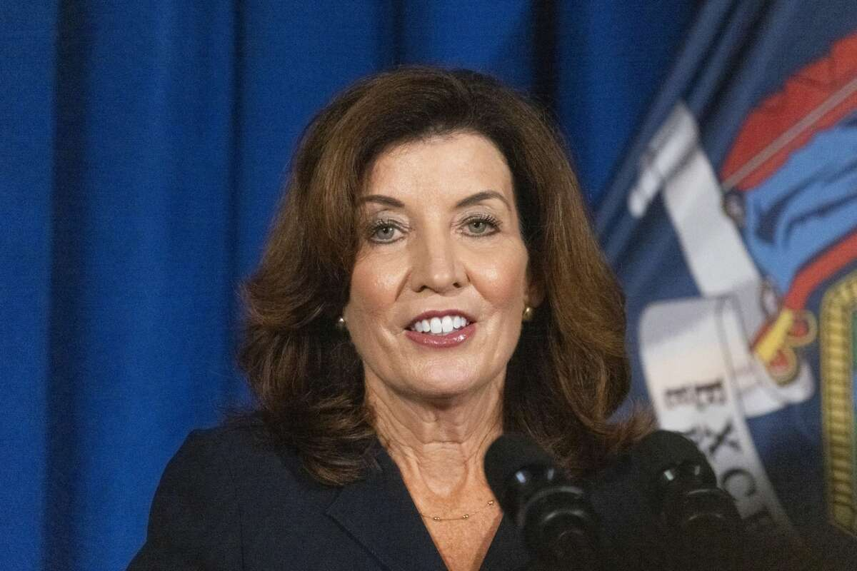 New York Gov. Kathy Hochul, during a news conference in Albany, N.Y., on Aug. 11, 2021. MUST CREDIT: Bloomberg photo by Angus Mordant.
