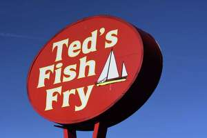 sign for the Wolf Rd. TedÕs Fish Fry on Friday, Oct. 8, 2021, in Colonie, N.Y. Ted's will close its doors for several days as it gives employees the time to take much needed time off for their mental health.