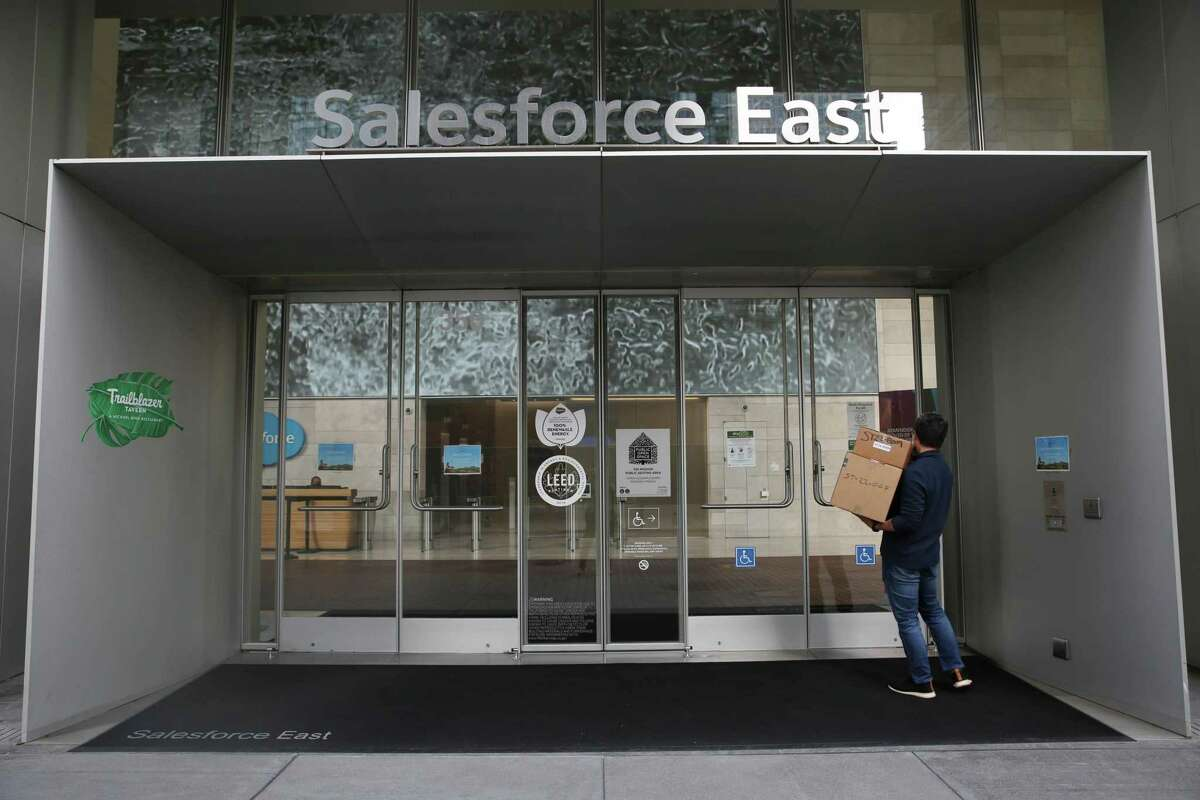 The entrance to 350 Mission Street is seen in San Francisco. The city's office market showed signs of recovery as new leasing activity in the third quarter reached 1.77 million square feet, the highest level since 2019. Vacancy was flat around 20%.