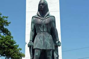 The Christopher Columbus statue in Seaside Park, seen here shortly before 2pm on Monday, July 6. 2020.