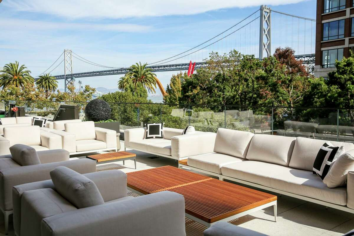 The shared terrace for residents atop the second floor of One Steuart Lane, a new 20-story tower on The Embarcadero in San Francisco.