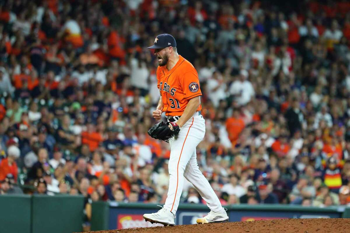 Houston Astros relief pitcher Kendall Graveman (31) reacts after striking out Chicago White Sox first baseman Jose Abreu (79) during the ninth inning in Game 2 of the American League Division Series on Friday, Oct. 8, 2021, at Minute Maid Park in Houston.
