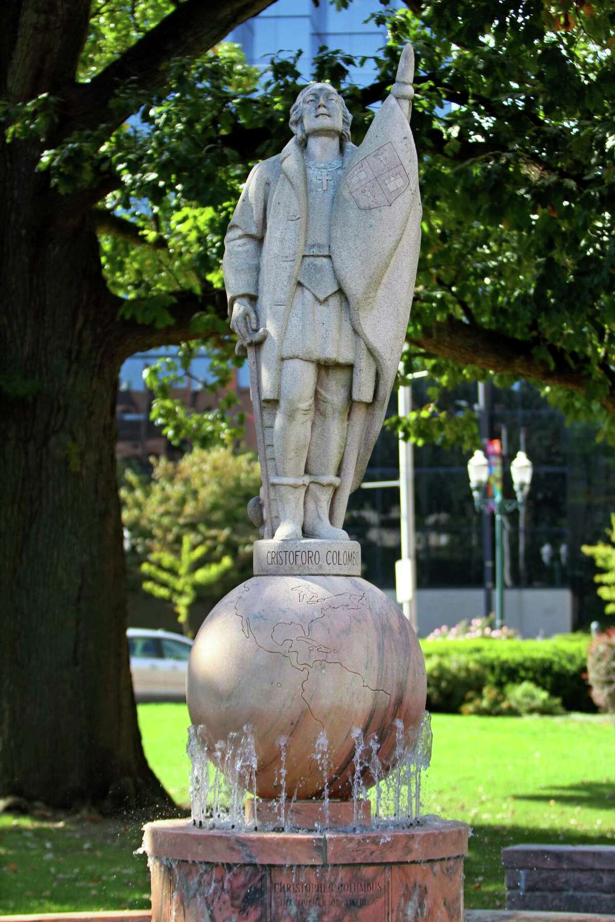 A view of the Christopher Columbus statue at Columbus Park in Stamford, Conn., on Thursday October 7, 2021. A local Italian organization is planning a small event at the statue on Columbus Day, but the city is still not sure if it will be removed or not.