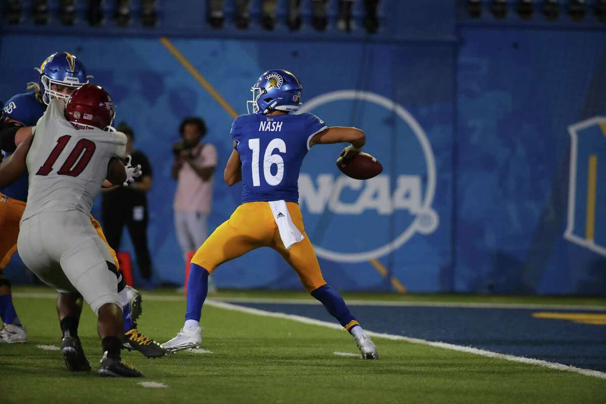 Nick Nash threw three touchdown passes in San Jose State's 37-31 win over New Mexico State on Saturday night.
