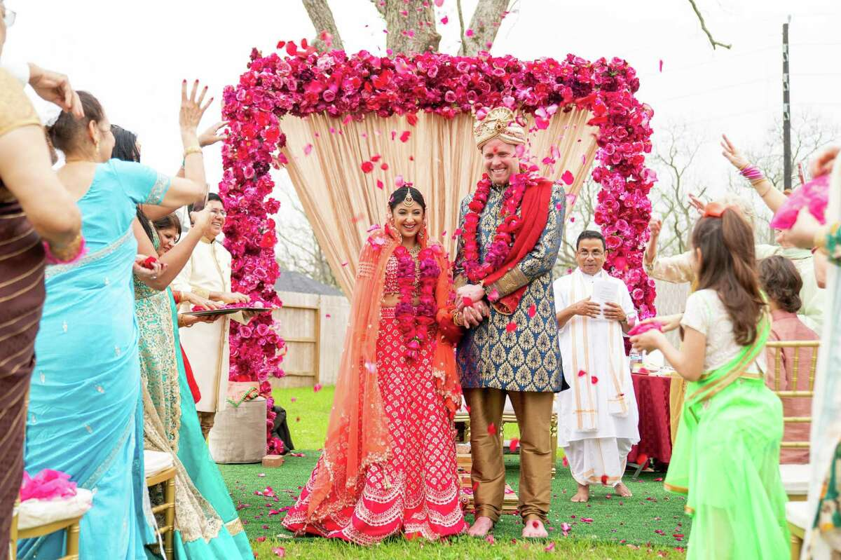 """""""Walking down the aisle toward Patrick and seeing he had tears in his eyes is my favorite moment,"""" shares bride Megha Tejpal. """"It's something I know I'll never forget."""""""