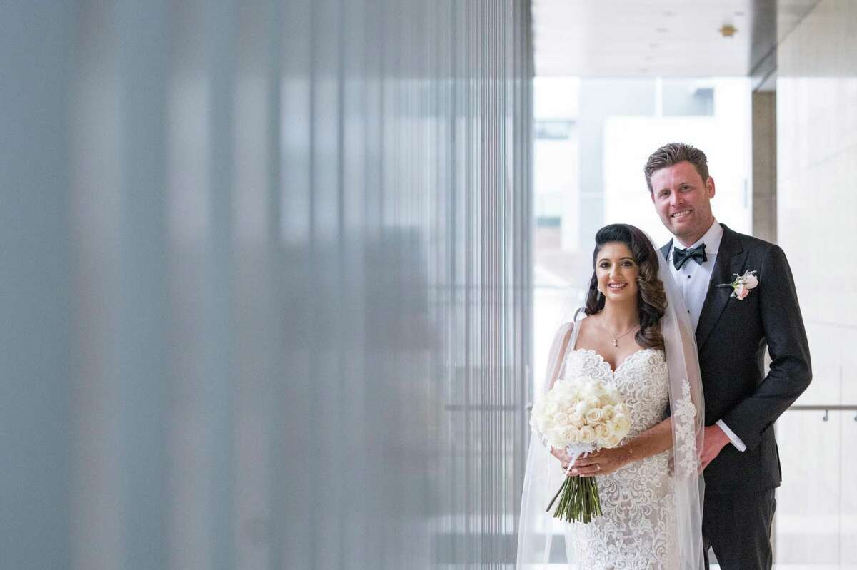 Megha Tejpal and Patrick McSwain tied the knot in spring 2021 with a backyard Hindu ceremony at the bride's parents' home in Sugarland and a black-tie, white dress ceremony at Asia Society Texas Center in the Museum District.