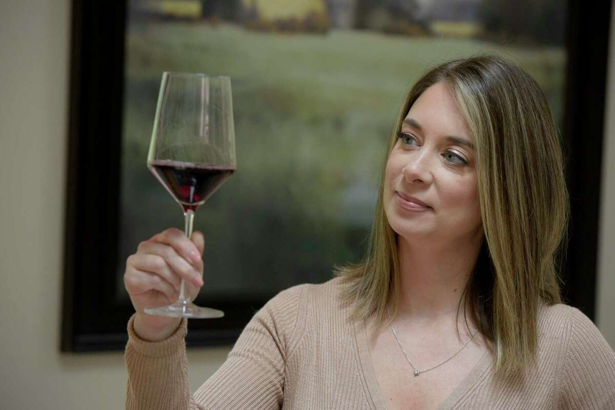 Jillian Fontana, of Ridgefield, is a certified sommelier. Fontana leads wine tastings, both private and corporate. Thursday, Oct. 7, 2021, in Ridgefield, Conn.