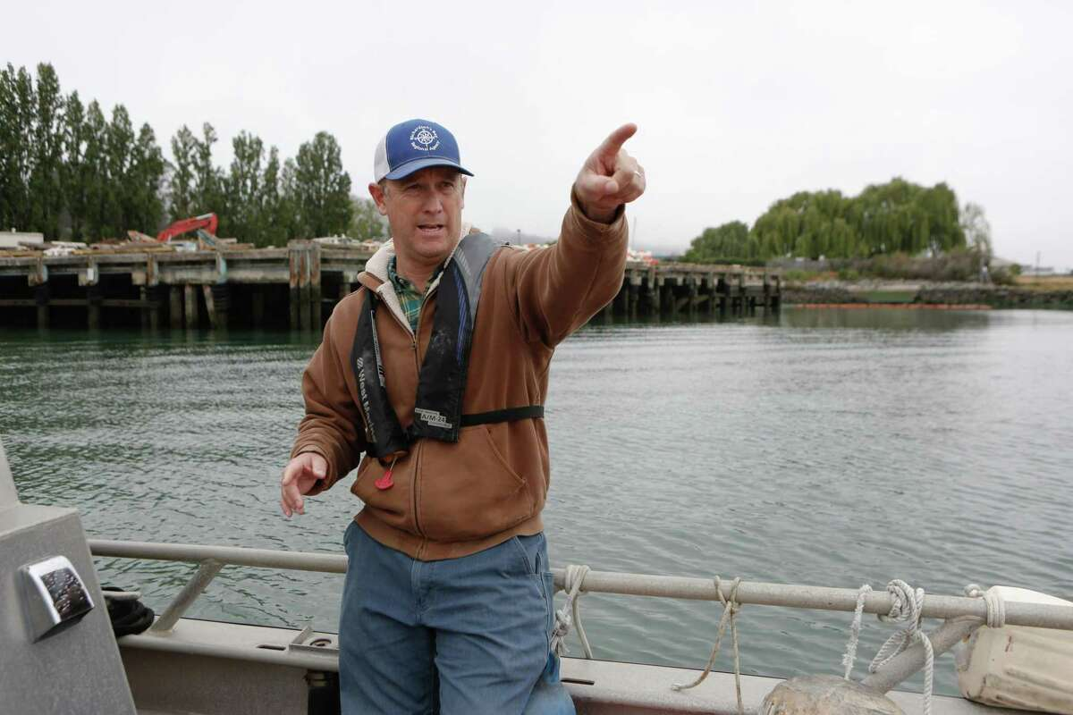 Harbor master Curtis Havel points out at anchorage in the middle of Richardson Bay in Sausalito, Calif. Havel announced he would resign after two years on the job.