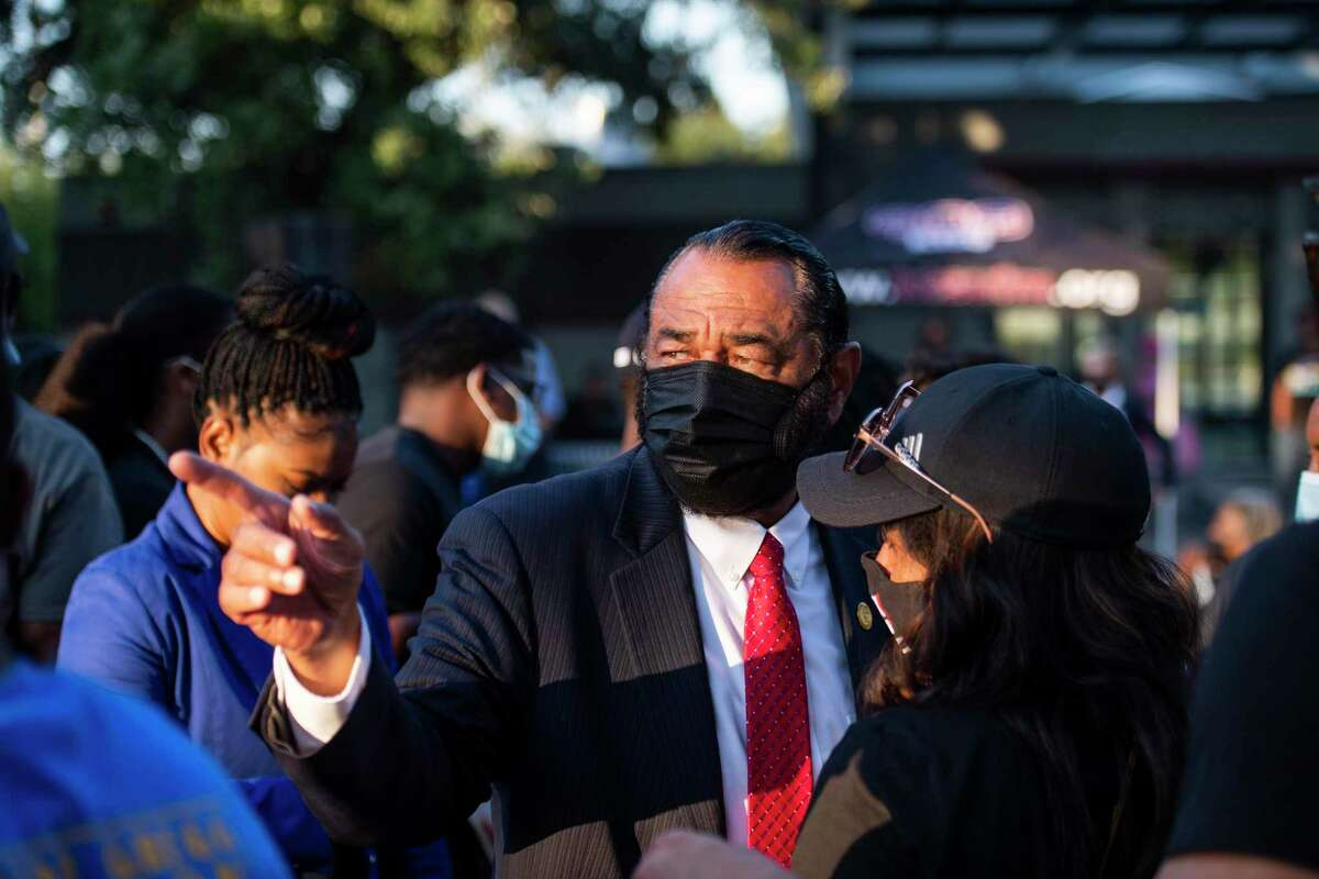 Rep. Al Green greets people during a rally against the redistricting efforts in Austin on Thursday, Oct. 7, 2021, at Emancipation Park in Houston, Texas.