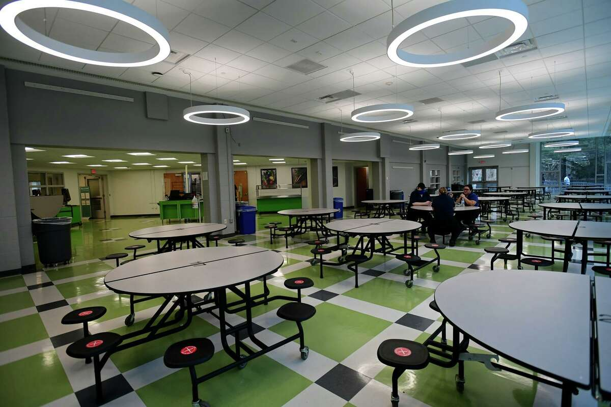 The newly renovated cafeteria at Coleytown Middle School on opening day Tuesday, January 5, 2021, in Westport, Conn.
