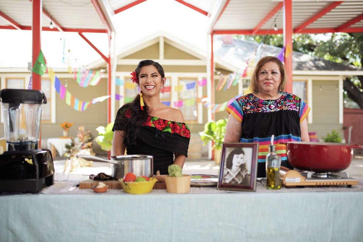 """Keli Rosa Cabunoc Romero (left) and Malena Gonzalez-Cid (right) in one of """"The Día de los Muertos Menu"""" episodes on The Food Network."""
