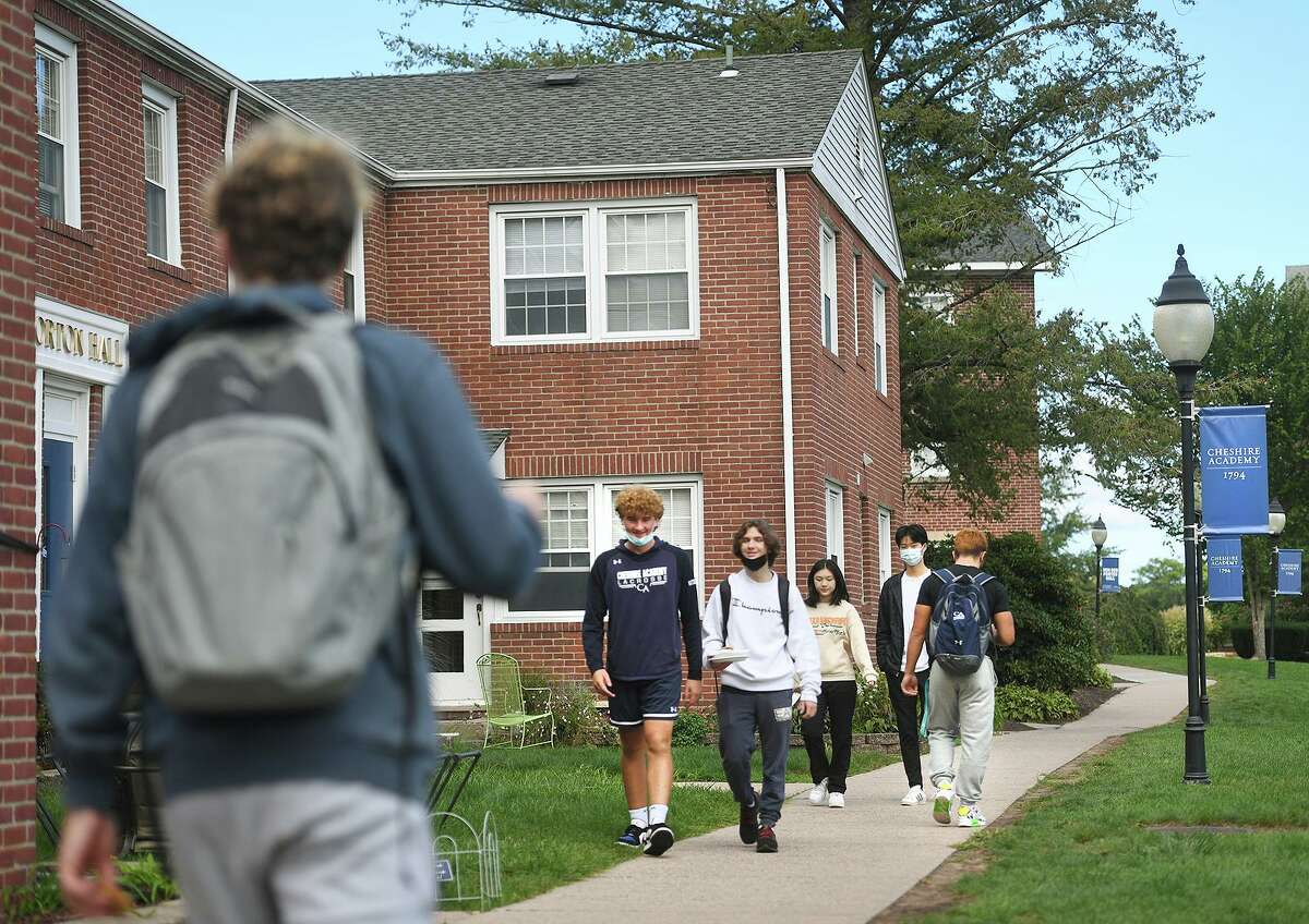 Students make their way across the campus at Cheshire Academy in Cheshire Oct. 6, 2021.