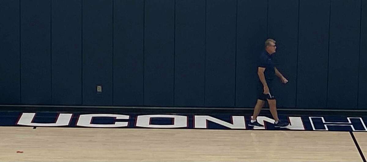 UConn coach Geno Auriemma on the court at the Werth Family Champions Center for the first day of practice Friday.
