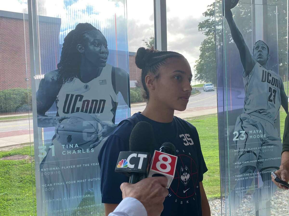 Freshman Azzi Fudd meets the media after UConn held its first practice Friday.
