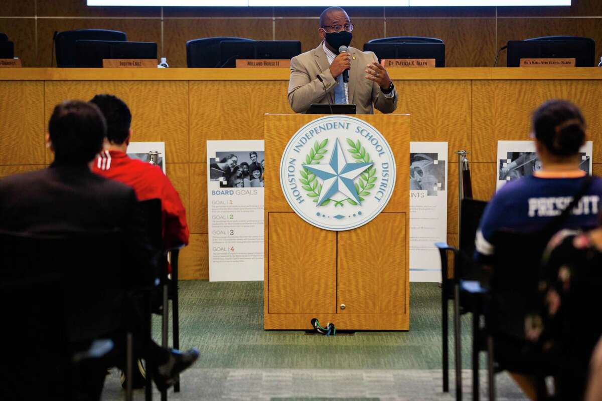 Houston Independent School District superintendent Millard House II talks during a town hall event at the Hattie Mae White Educational Support Center, Friday, Oct. 8, 2021, in Houston.