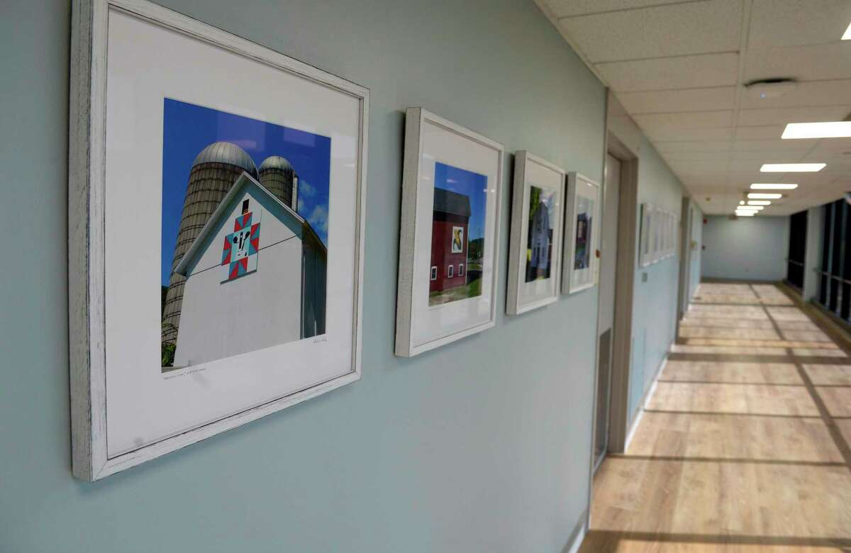 New Milford Hospital has an exhibit of photographs from the Barn Quilt Trail, in New Milford, in their new repurposed wing. Friday, October 8, 2021, in New Milford.