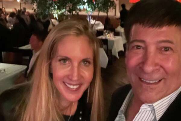 Conservative media pundit Ann Coulter and WOR radio host Mark Simone, a Greenwich resident, at Tony's at the JHouse in Riverside last weekend.