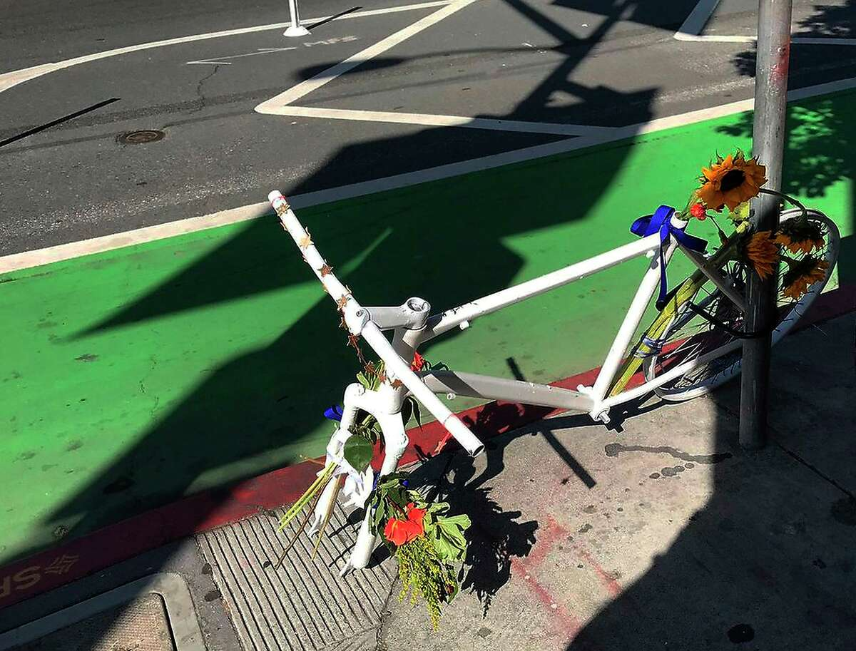 The front tire was stolen off a memorial honoring Kate Slattery, a cyclist killed by a motorist.