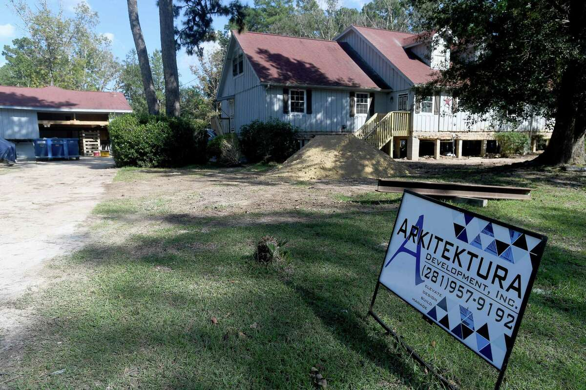 Several homes in Bevil Oaks have been raised, with many more scheduled for elevation work, following grant money to do the work as protection against future flood damage. Residents in the small city straddling the Jefferson and Hardin County line were among some of the hardest hit during Tropical Storm Harvey. Photo made Wednesday, October 6, 2021 Kim Brent/The Enterprise