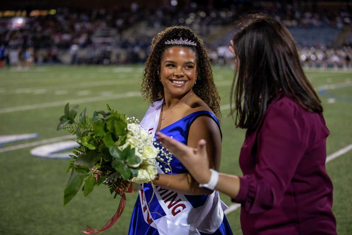 Maci Johnson, left, was crowned homecoming queen on Friday, Oct. 8, 2021 at Grande Communications Stadium. Jacy Lewis/Reporter-Telegram